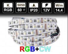 14.4W LED RGBCW лента 60 5050 12V IP20