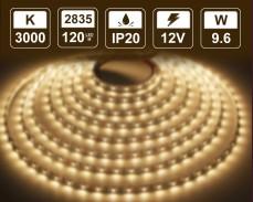 9,6W LED лента ТОПЛО БЯЛО 120 2835 12V IP20