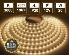 20W LED лента ТОПЛО БЯЛО 196 2835 12V IP20