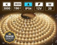 20W LED лента ТОПЛО БЯЛО 196 2835 12V IP54 влагоустойчива