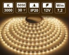 7,2W LED лента ТОПЛО БЯЛО 30 5050 12V IP20