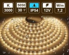 7,2W LED лента ТОПЛО БЯЛО 30 5050 12V IP54 влагоустойчива