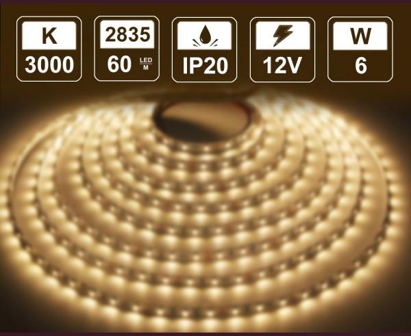 6W LED лента ТОПЛО БЯЛО 60 2835 12V IP20