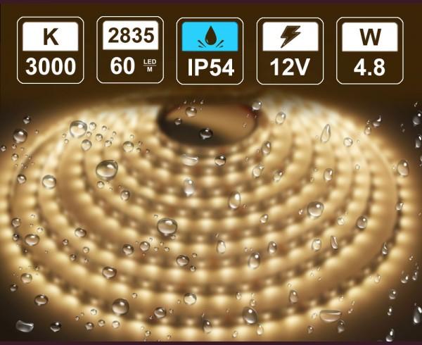 4,8W LED лента ТОПЛО БЯЛО 60 2835 12V  влагоустойчива