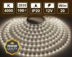 20W LED лента БЯЛО 4000K 196 2835 12V IP20