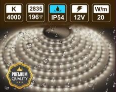 20W LED лента БЯЛО 4000K 196 2835 12V IP54 влагоустойчива