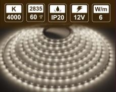 6W LED лента БЯЛО 4000K 60 2835 12V IP20