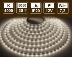 7,2W LED лента БЯЛО 4000K 30 5050 12V IP20