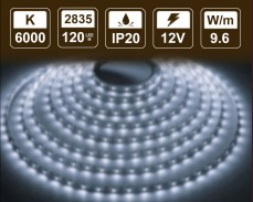 9,6W LED лента СТУДЕНО БЯЛО 120 2835 12V IP20