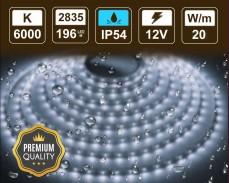 20W LED лента СТУДЕНО БЯЛО 196 2835 12V IP54