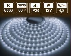 4,8W  LED лента СТУДЕНО БЯЛО 60 2835 12V IP20