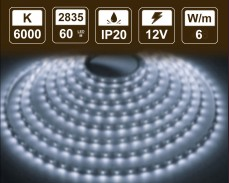 6W LED лента СТУДЕНО БЯЛО 60 2835 12V IP20
