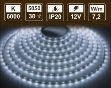 7,2W LED лента СТУДЕНО БЯЛО 30 5050 12V IP20