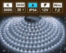 7,2W LED лента СТУДЕНО БЯЛО 30 5050 12V IP54  влагоустойчива