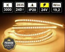 19,2W LED лента ТОПЛО БЯЛО 240 2835 24V IP20 Premium