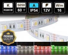 16W LED RGBCW лента 60 5050 12V IP54 влагоустойчива