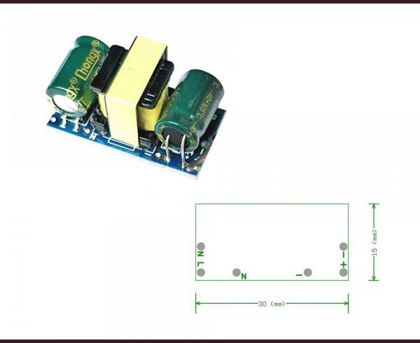 AC-DC захранващ модул за LED лампички ~220V / 3,3V 3W